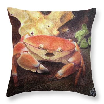 Coral Crab Throw Pillow by Adam Johnson
