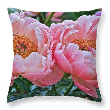Coral Duo Peonies Throw Pillow