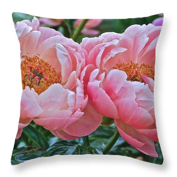 Coral Duo Peonies Throw Pillow