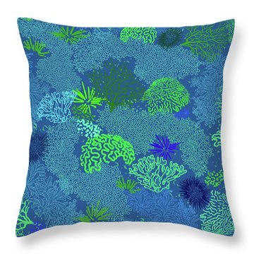 Coral Garden Blues And Greens Throw Pillow