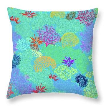 Coral Garden Bright Aqua Multi Throw Pillow
