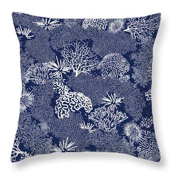 Coral Garden Indigo And White Throw Pillow