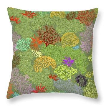 Coral Garden Olive Multi Throw Pillow