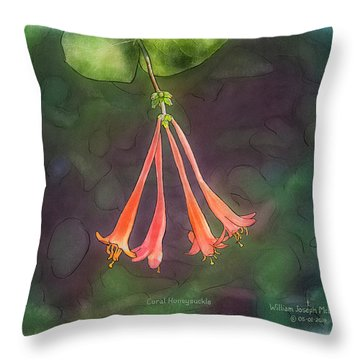 Coral Honeysuckle Throw Pillow
