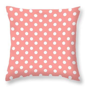 Coral Pink Polka Dots Throw Pillow