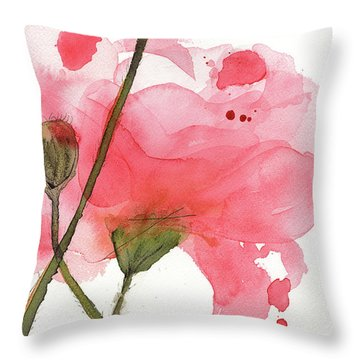 Throw Pillow featuring the painting Coral Poppies by Dawn Derman