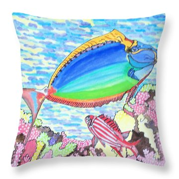 Throw Pillow featuring the painting Coral Reef by Connie Valasco