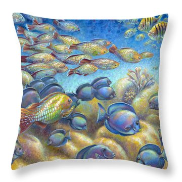 Coral Reef Life Silvers Throw Pillow