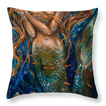 Coral Reef Rhapsody Center Throw Pillow by Linda Olsen