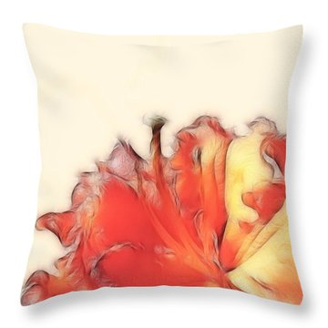 Coral Rhododendron Throw Pillow