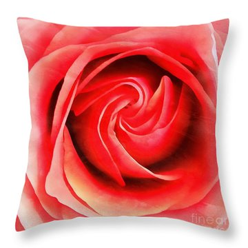 Throw Pillow featuring the photograph Coral Rose - My Pleasure - Rose by Janine Riley