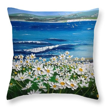 Coral Strand Daisies Connemara Ireland Throw Pillow