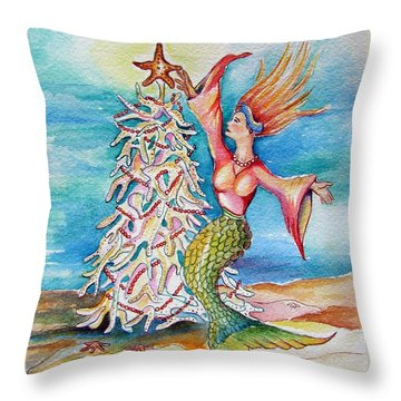 Coral Tree Mermaid Throw Pillow