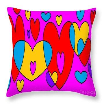 Corazones Throw Pillow by Eliso Silva
