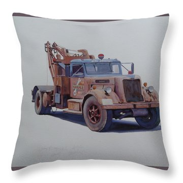 Throw Pillow featuring the painting Corbyn Wrecker. by Mike  Jeffries