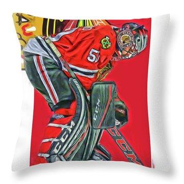 Corey Crawford Chicago Blackhawks Oil Art Throw Pillow