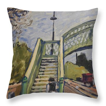 Corfe Castle Railway Station Throw Pillow by Nop Briex