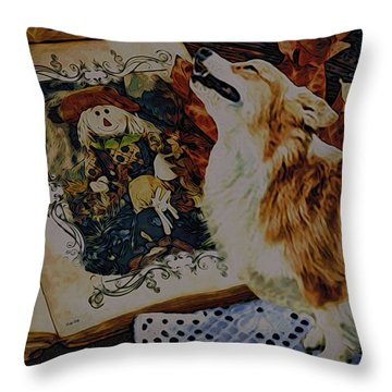 Throw Pillow featuring the digital art Corgi Appreciating Art by Kathy Kelly