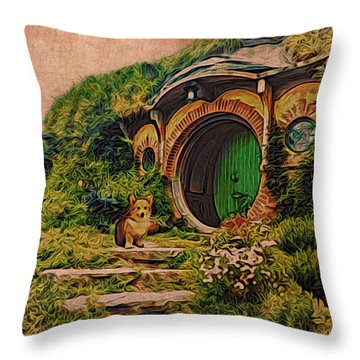 Corgi At Hobbiton Throw Pillow
