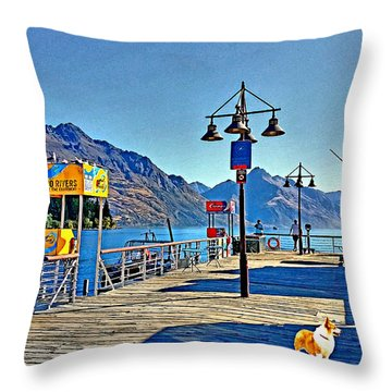 Throw Pillow featuring the drawing Corgi At Queenstown New Zealand by Kathy Kelly