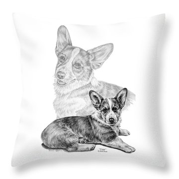 Corgi Dog Art Print Throw Pillow