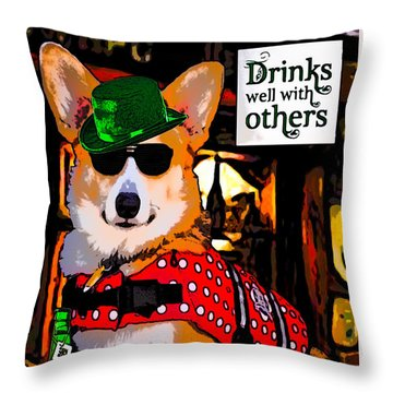Throw Pillow featuring the digital art Corgi - Drinks Well With Others by Kathy Kelly