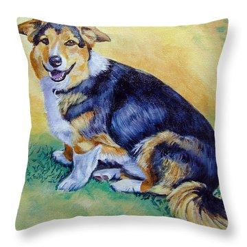 Corgi Mix Cooper Throw Pillow