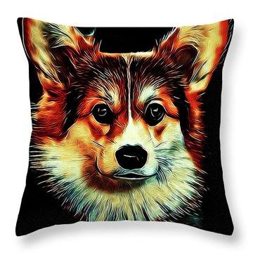 Corgi Portrait Throw Pillow