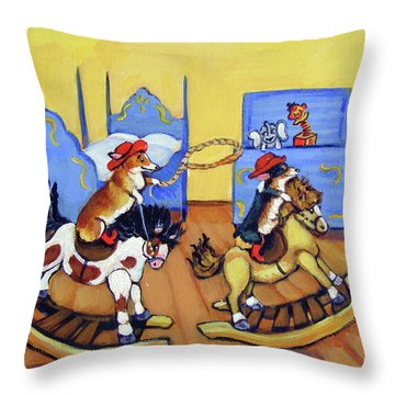Pembroke Welsh Corgi Rainy Day Cowboys Throw Pillow