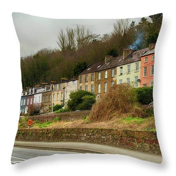Cork Row Houses Throw Pillow by Marie Leslie