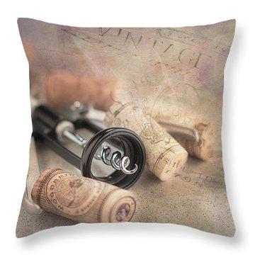 Corkscrew And Wine Corks Throw Pillow