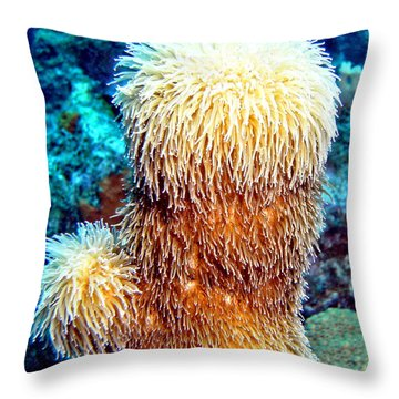Throw Pillow featuring the photograph Corky Sea Finger Coral - The Muppet Of The Deep by Amy McDaniel