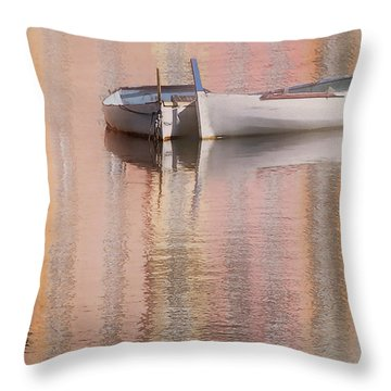 Cormorant And Boats Throw Pillow