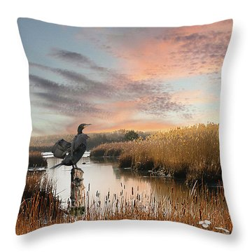 Cormorant At Sunset Throw Pillow