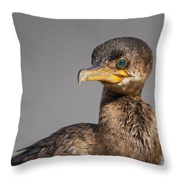 Cormorant Portrait Throw Pillow