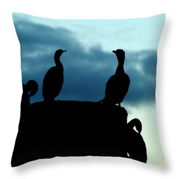 Cormorants In Silhouette Throw Pillow by Victoria Harrington