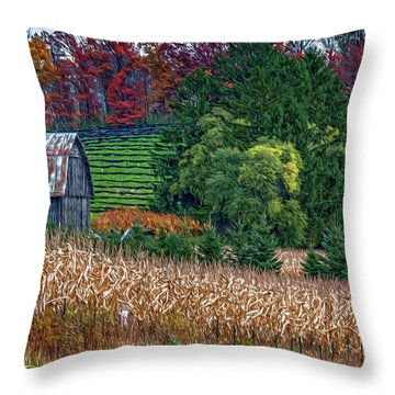 Corn And Ginseng On Poverty Hill Throw Pillow