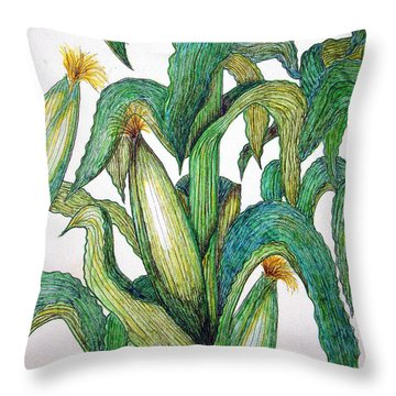 Corn And Stalk Throw Pillow by J R Seymour