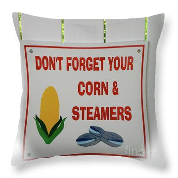 Corn And Steamers Throw Pillow by Beth Saffer