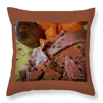 Throw Pillow featuring the photograph Corn Beef by Raymond Earley