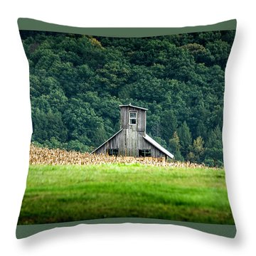 Throw Pillow featuring the photograph Corn Field Silo by Marvin Spates