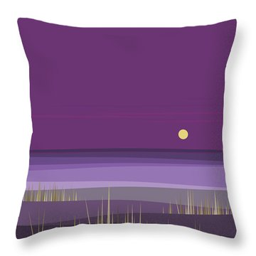 Corn Field Twilight Purple Throw Pillow by Val Arie