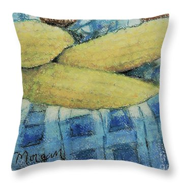 Corn In A Basket Throw Pillow