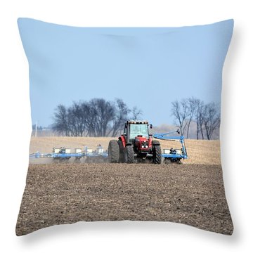 Corn Planting Throw Pillow by Bonfire Photography