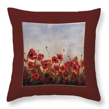 Corn Poppies In Remembrance Throw Pillow