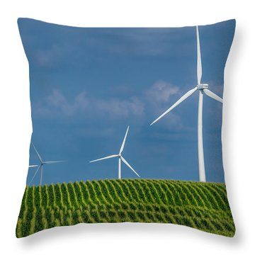 Corn Rows And Windmills Throw Pillow