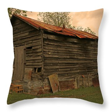 Corn Shed Throw Pillow