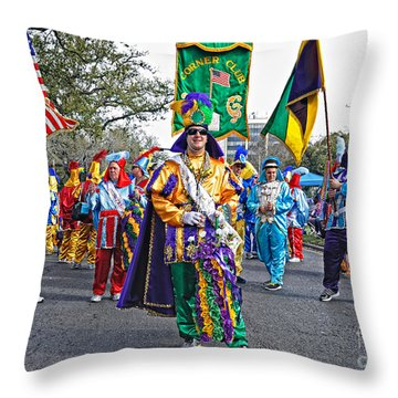 Corner Club 3 -mardi Gras New Orleans Throw Pillow by Kathleen K Parker