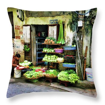 Corner Fresh Veggies Vietnam  Throw Pillow