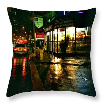 Corner In The Rain Throw Pillow by Miriam Danar